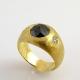 טבעת בשיבוץ יהלום שחור בחיתוך Rose Cut