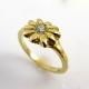 טבעת יהלום בצורת פרח
